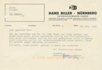 Biller letter with original signature